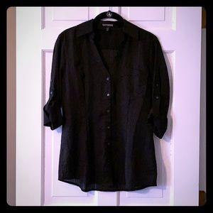 Black on Black Striped Collared Shirt, Size Medium
